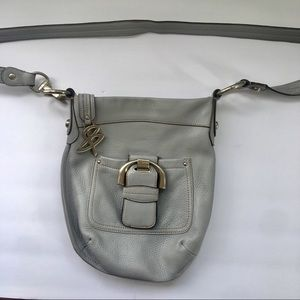 B Makowsky Gray Pebbled Leather Cross Body Bag